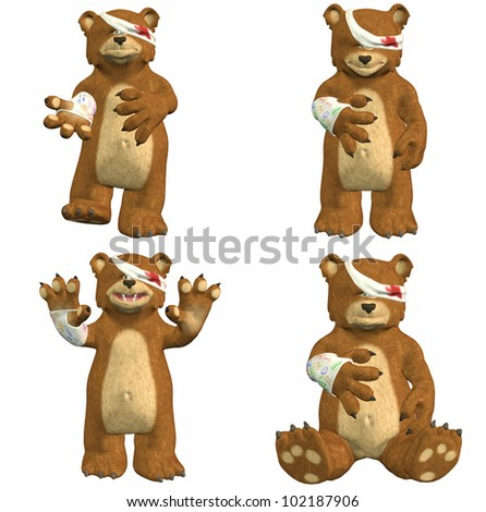 Illustration of a pack of four (4) wounded bears with different poses and expressions isolated on a white background - stock photo