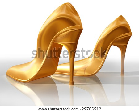 Illustration of a pair of elegant gold high heel shoes - stock photo