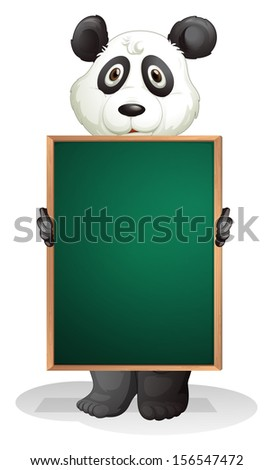 Illustration of a panda at the back of an empty blackboard on a white background  - stock photo