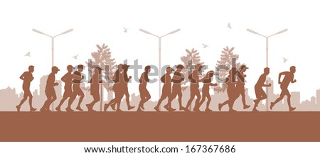 illustration of a panoramic urban scene of a big group of people running in the parc on the big city silhouette background - stock photo