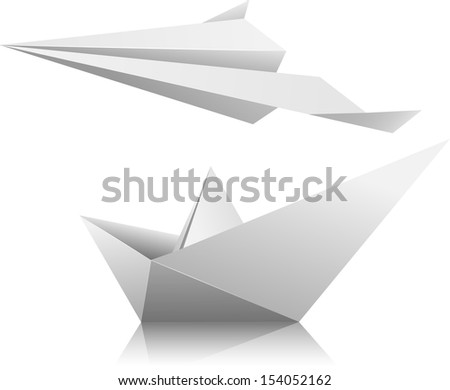 Illustration of a paper airplane and ship.