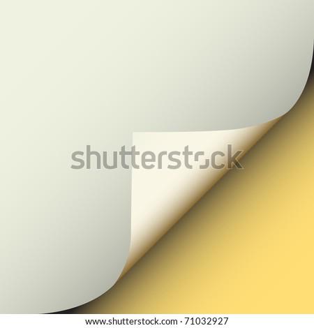 Illustration of a peeling corner of gray paper - stock photo