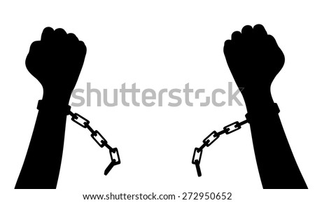 Illustration of a person breaking chains - stock photo