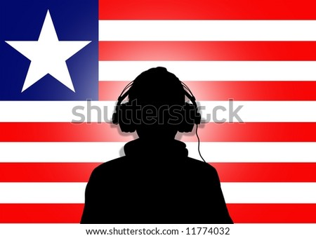 Illustration of a person wearing headphones in-front of the flag of Liberia