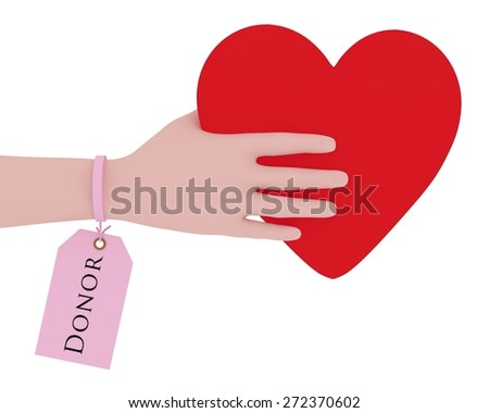 Illustration of a person with a donor tag holding a heart - stock photo