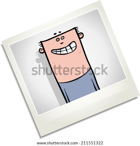 Illustration of a photo of a happy looking young man. - stock photo