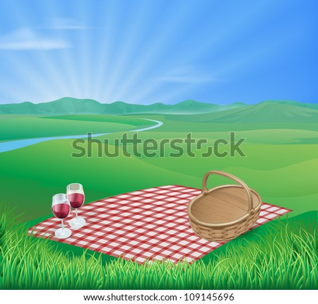 Illustration of a picnic in a beautiful rural scene with wine glasses and wicker basket - stock photo