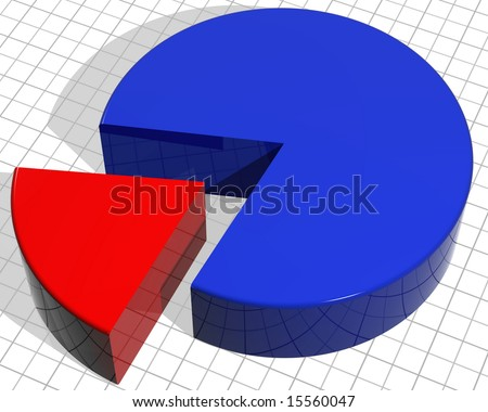Illustration of a pie chart with a segment sticking out - stock photo