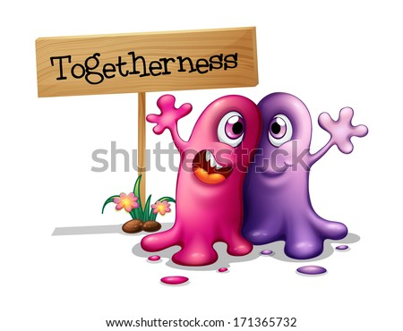 Illustration of a pink and a purple monster beside a signboard on a white background - stock photo