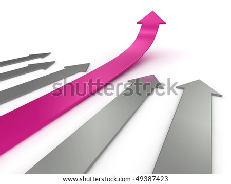 Illustration of a pink arrow, ahead of the competition. Could be used to represent success, growth, statistics etc. - stock photo