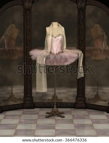 Illustration of a pink classical ballet tutu with draped chiffon scarf on a stand reflected in a cloudy three panel mirror, 3d digitally rendered illustration - stock photo