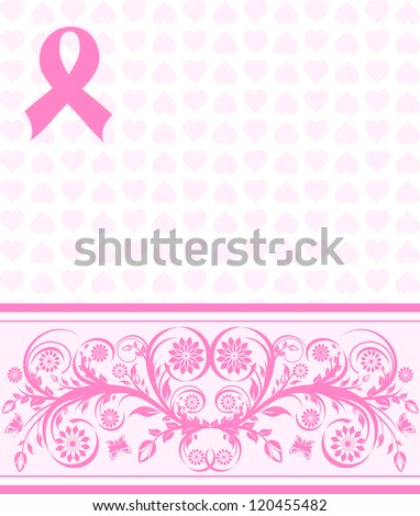 illustration of a  pink ribbon breast cancer support background - stock photo
