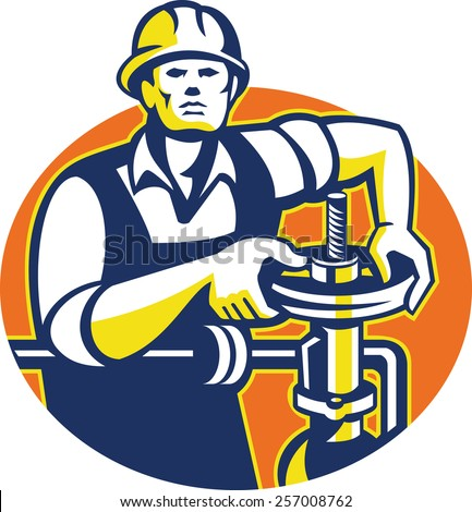 Illustration of a pipefitter oil worker tightening pipeline pipe valve set inside oval done in retro style.