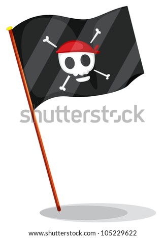 Illustration of a pirate flag - EPS VECTOR format also available in my portfolio. - stock photo