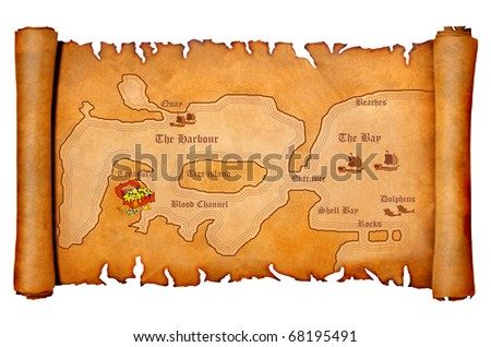 Illustration of a pirate's treasure map - stock photo