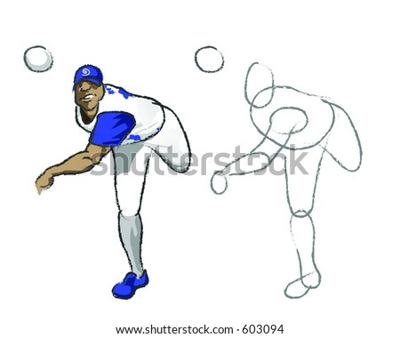 Illustration of a pitching baseball player with the initial sketch 'learn how to draw it' - stock photo