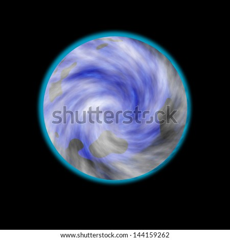 Illustration of a planet on black background. High resolution image.