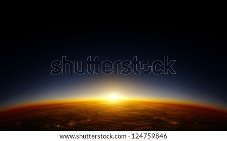 Illustration of a planet viewed from orbit in space with the sun setting over its horizon. Continent patterns and cities are fictional and are not supposed to resemble any special area on Earth. - stock photo