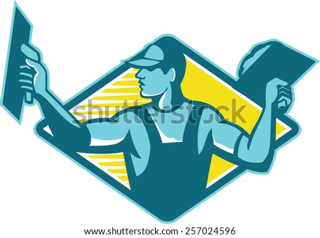 Illustration of a plasterer worker tradesman plastering set inside diamond shape done in retro style