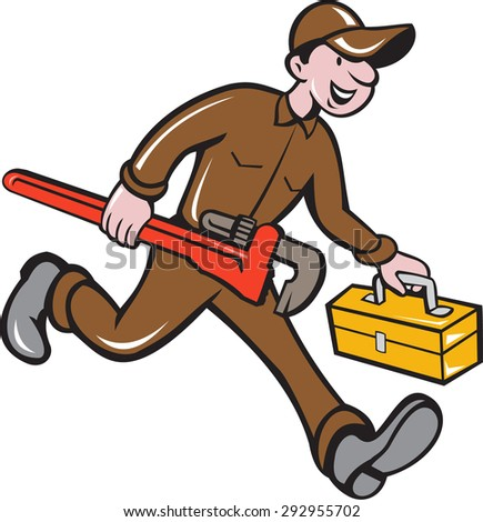 Illustration of a plumber in overalls and hat carrying monkey wrench and toolbox viewed from the side set on isolated background done in cartoon style.  - stock photo