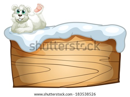 Illustration of a polar bear above the empty wooden board on a white background - stock photo