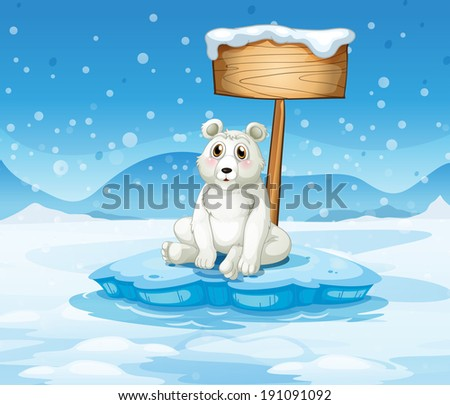 Illustration of a polar bear sitting under the empty wooden signboard - stock photo