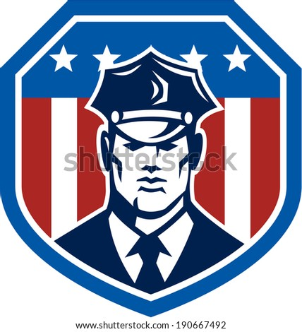 Illustration of a police officer policeman security guard facing front set inside shield with American Stars and Stripes flag on isolated white background.