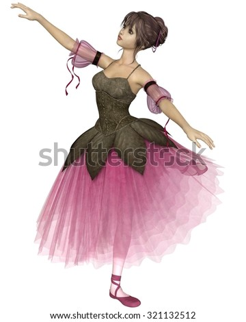 Illustration of a pretty dark-haired young ballerina wearing a long romantic style pink flower tutu standing in arabesque pose, 3d digitally rendered illustration - stock photo