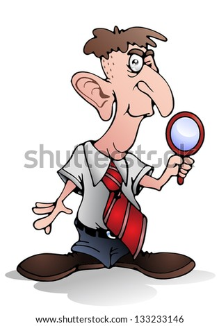 illustration of a private detective hold magnifying glass on isolated white background - stock photo