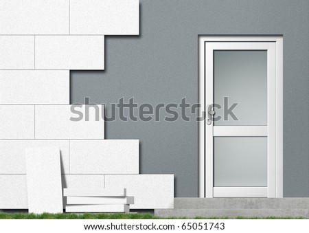Illustration of a private home with red front covered with isolation material - stock photo