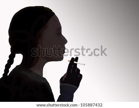 Illustration of a problem of smoking children - stock photo