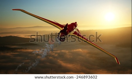 illustration of a prototype aircraft flying over the sea - stock photo