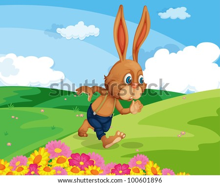 Illustration of a rabbit in a field - EPS VECTOR format also available in my portfolio.