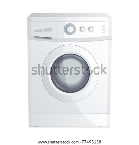Illustration of a realistic washing machine