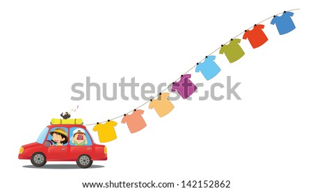 Illustration of a red car with hanging clothes on a white background - stock photo