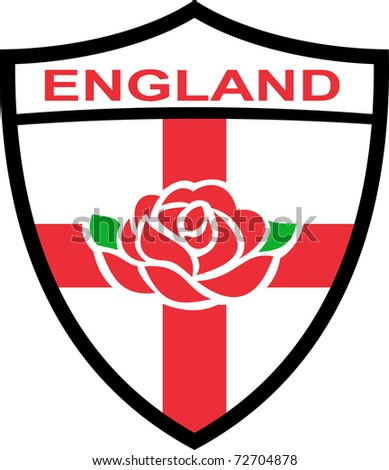 """Illustration of a red English rose inside shield with flag of England and words """"England"""" - stock photo"""