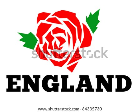 """Illustration of a red english rose with words """"England"""" isolated on white background - stock photo"""
