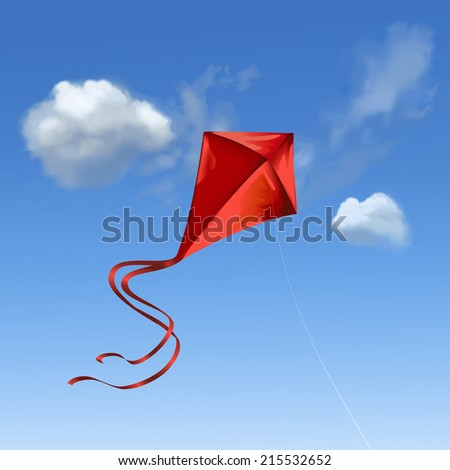 Illustration of a red kite flying in the blue sky