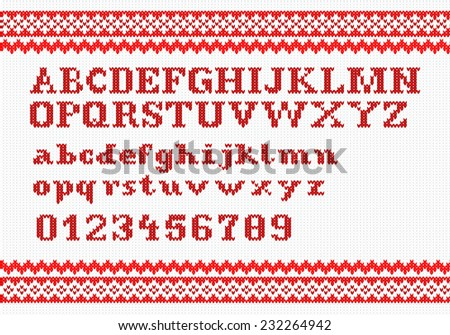 illustration of a red knitting alphabet on white background - stock photo