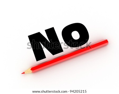 Illustration of a red pencil and word on a white paper - stock photo