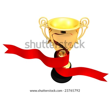 Illustration of a red ribbon wrapping around a golden trophy cup