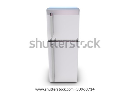Illustration of a rendered refrigerator on white background