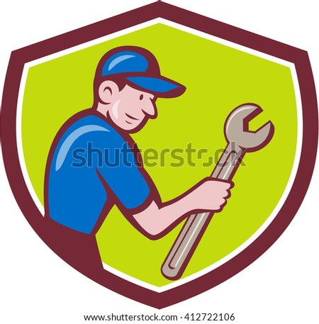 Illustration of a repairman handyman worker wearing hat carrying spanner wrench looking to the side set inside shield crest done in cartoon style.  - stock photo