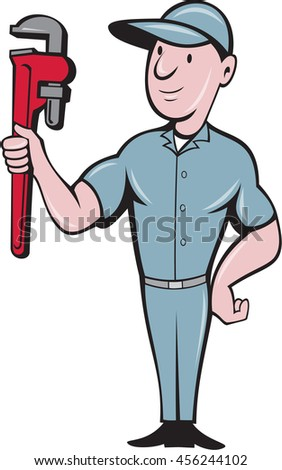 Illustration of a repairman handyman worker wearing hat standing with one hand on hips carrying holding monkey wrench looking to the side viewed from front set on isolated background in cartoon style - stock photo
