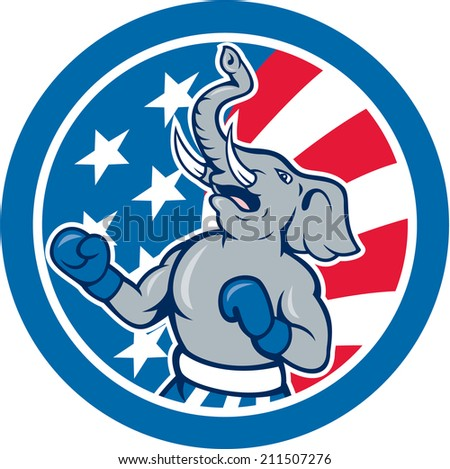 Illustration of a republican elephant boxer mascot of the republican party with stars and stripes in the background set inside circle done in cartoon style.