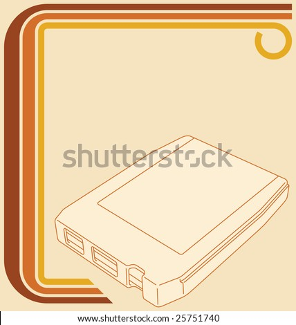 Illustration of a retro 70s border and an 8-track tape. - stock photo