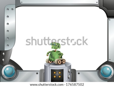 Illustration of a robot and the metallic frame