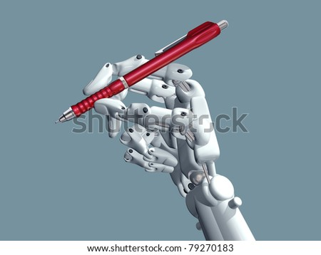 Illustration of a robot holding a pen - stock photo
