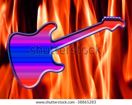 Illustration of a rock guitar on fire - stock photo