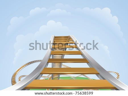 Illustration of a roller coaster from the highest view. Conceptual highs and lows or fear and trepidation. - stock photo